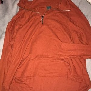 long sleeve collared burnt orange shirt